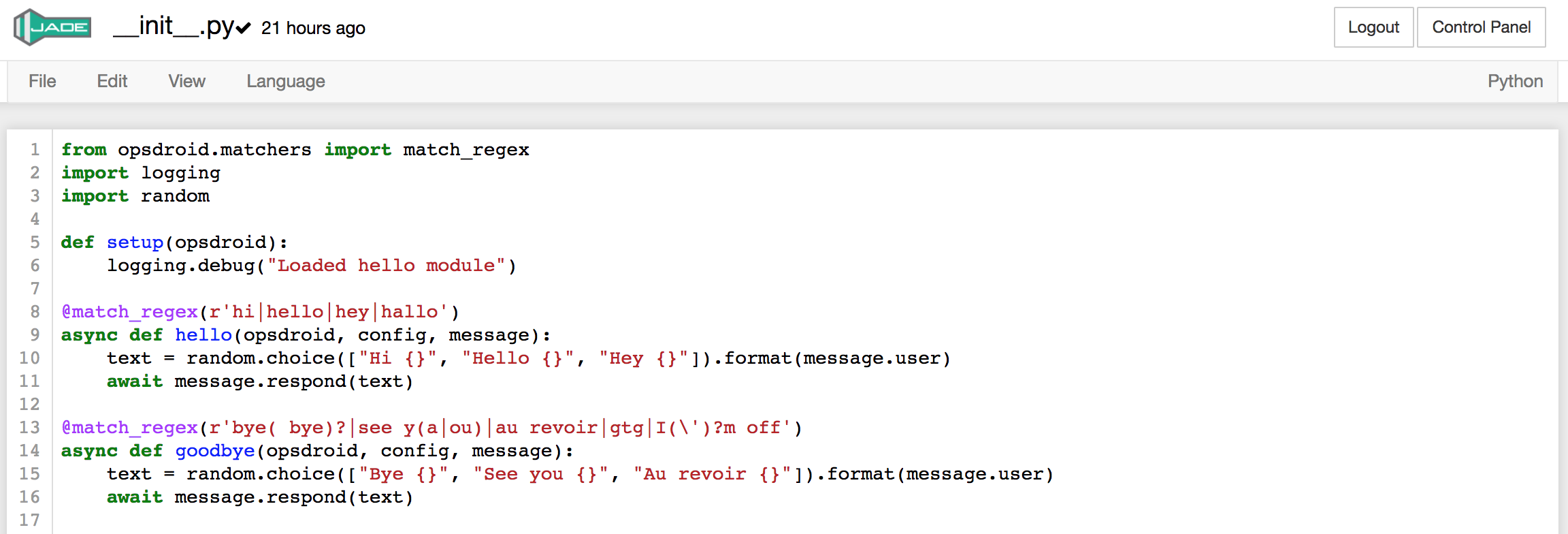 Example skill code